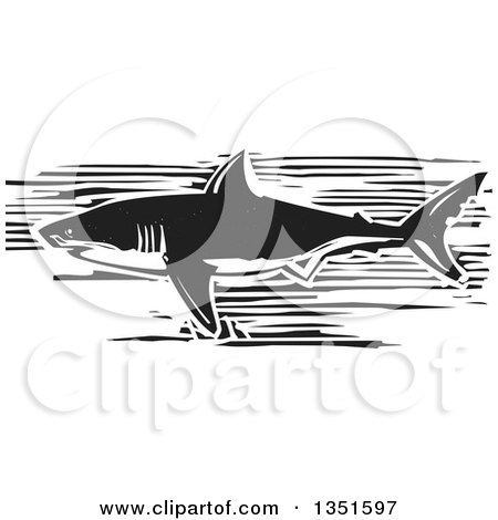 Clipart of a Black and White Woodcut Swimming Great White Shark - Royalty Free Vector Illustration by xunantunich