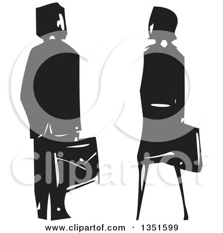 Clipart of a Rear View of a Black and White Woodcut Business Man and Woman - Royalty Free Vector Illustration by xunantunich