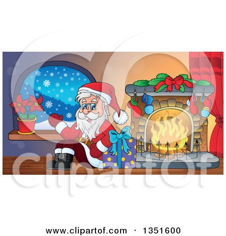 Clipart of a Cartoon Christmas Santa Claus Waving and Sitting with a Gift by a Fireplace - Royalty Free Vector Illustration by visekart