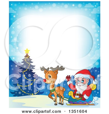 Clipart of a Cartoon Christmas Border of Santa Claus and Rudolph the Red Nosed Reindeer by an Outdoor Christmas Tree - Royalty Free Vector Illustration by visekart