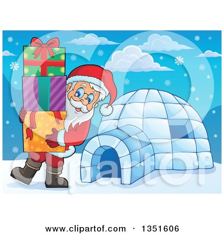 Clipart of a Cartoon Christmas Santa Claus Carrying Gifts by an Igloo - Royalty Free Vector Illustration by visekart
