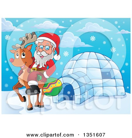 Clipart of a Cartoon Christmas Santa Claus Riding Rudolph the Red Nosed Reindeer by an Igloo - Royalty Free Vector Illustration by visekart