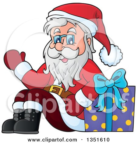 Clipart of a Cartoon Christmas Santa Claus Waving and Sitting with a Gift - Royalty Free Vector Illustration by visekart