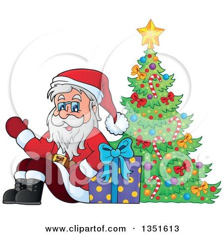 Clipart of a Cartoon Christmas Santa Claus Waving and Sitting with a Gift by a Christmas Tree - Royalty Free Vector Illustration by visekart