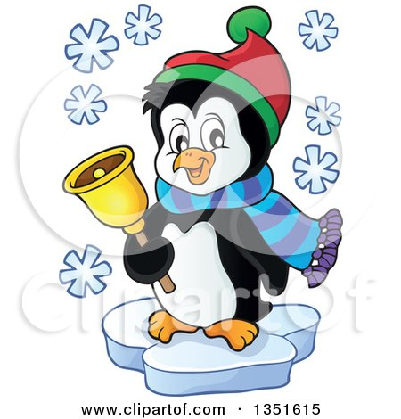 Cute Christmas Penguin Ringing a Bell and Floating on Ice Posters, Art Prints