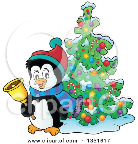 Clipart of a Cute Christmas Penguin Ringing a Bell by a Tree - Royalty Free Vector Illustration by visekart