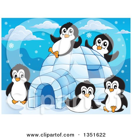 Clipart of Cute Penguins Playing at an Igloo - Royalty Free Vector Illustration by visekart