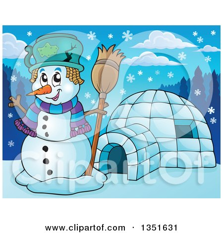 Clipart of a Cartoon Christmas Snowman Holding a Broom by an Igloo - Royalty Free Vector Illustration by visekart