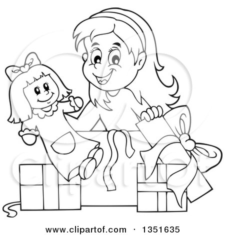 Clipart of a Cartoon Black and White Girl Opening a Doll ...