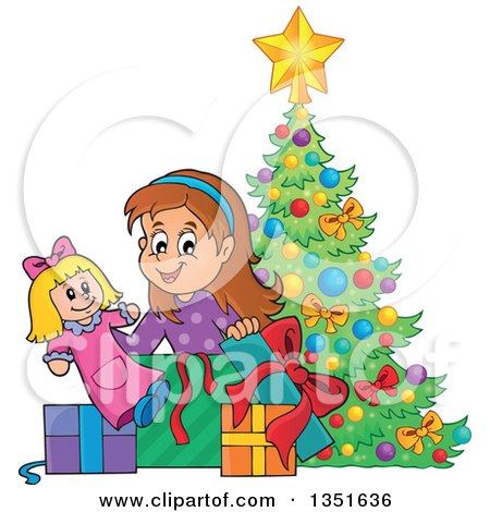 Clipart of a Cartoon Brunette Caucasian Girl Opening a Doll and Christmas Gifts by a Tree - Royalty Free Vector Illustration by visekart