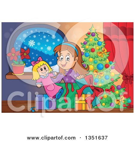 Clipart of a Cartoon Brunette White Girl Opening a Doll ...