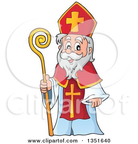 Clipart Of A Cartoon Happy St Nicholas Royalty Free Vector Illustration