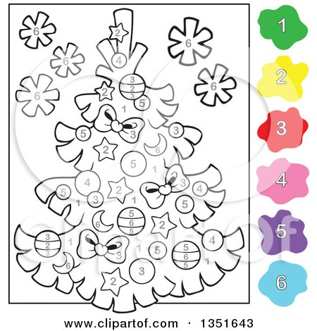 clipart of a cartoon christmas tree color by number project royalty free vector illustration by visekart - Christmas Tree To Color Free