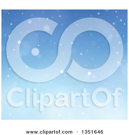 Clipart of a Blue Winter Christmas Background of Snow - Royalty Free Vector Illustration by visekart