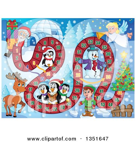 Clipart of a Christmas Board Game of Santa Carrying Presents from an Igloo to a Tree - Royalty Free Vector Illustration by visekart