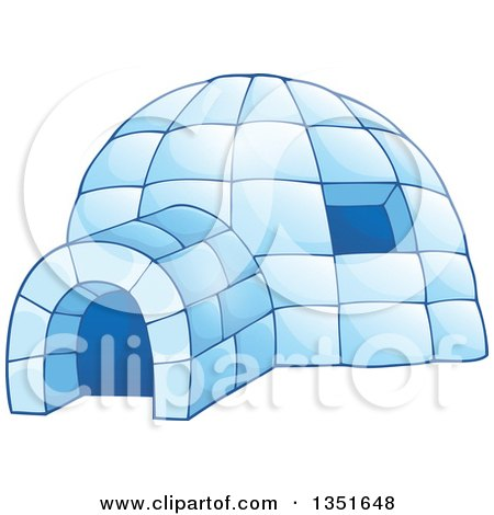 Clipart of a Cartoon Blue Icy Igloo Dwelling - Royalty Free Vector Illustration by visekart