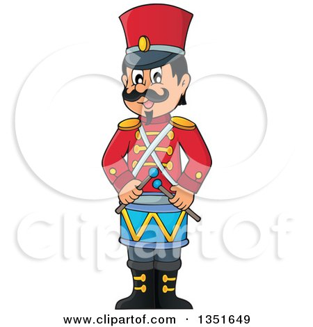 Clipart Of A Cartoon Happy Male Soldier Drummer Royalty Free Vector Illustration