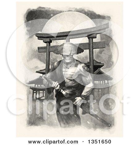 Clipart of a Samurai Spirit Warrior Grasping His Kantana Against a Full Moon - Royalty Free Illustration by Tonis Pan