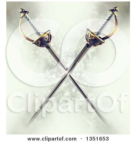 Clipart of 3d Crossed Musketeer Swords over a Magic Background - Royalty Free Illustration by Tonis Pan