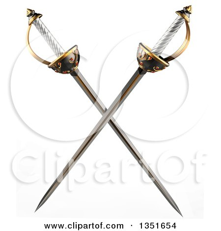Clipart of 3d Crossed Musketeer Swords - Royalty Free Illustration by Tonis Pan