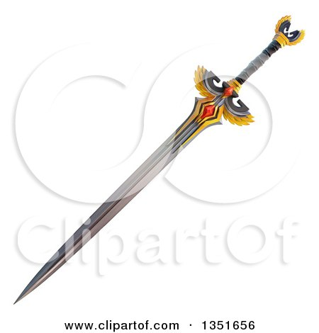 Clipart of a 3d Winged Sword - Royalty Free Illustration by Tonis Pan