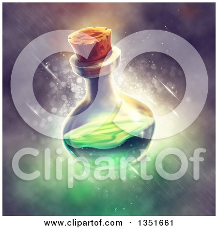 Clipart of a Potion Bottle with Green Liquid over Magic - Royalty Free Illustration by Tonis Pan