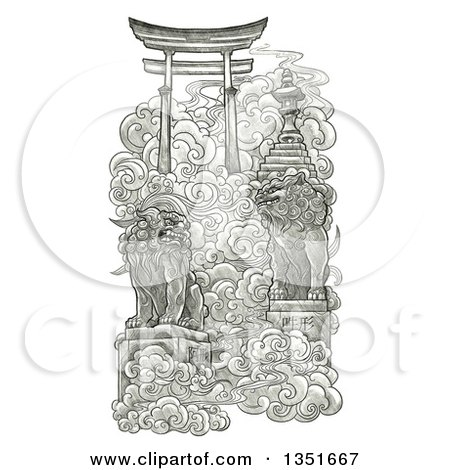 Clipart of a Pencil Sketched Japanese Gate to Heaven - Royalty Free Illustration by Tonis Pan