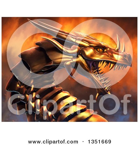 Clipart of a 3d Metal Golden Dragon Head over Fire - Royalty Free Illustration by Tonis Pan