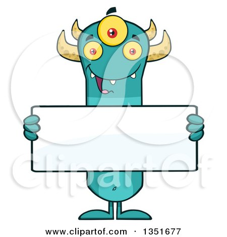 Clipart of a Turquoise, Three Eyed, Horned Monster Holding a Blank Sign - Royalty Free Vector Illustration by Hit Toon