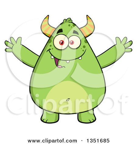 Clipart of a Cartoon Chubby Green Horned Monster with Open Arms - Royalty Free Vector Illustration by Hit Toon