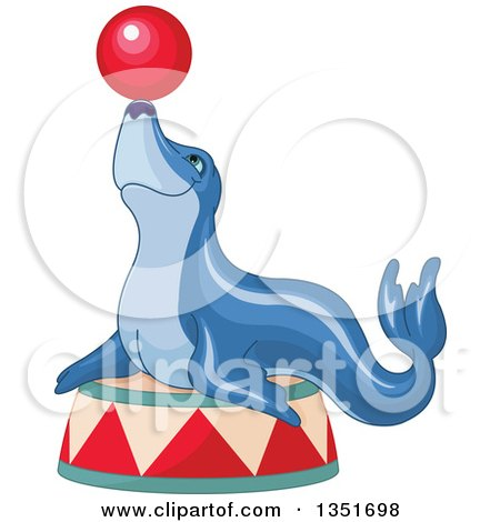 Clipart of a Blue Circus Seal Balancing a Ball on His Nose - Royalty Free Vector Illustration by Pushkin