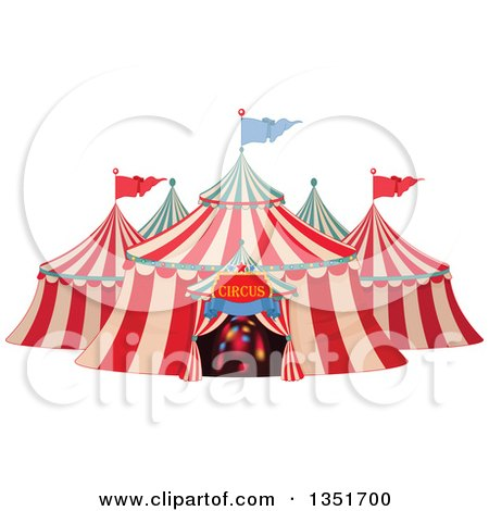 Clipart of a Cartoon Big Top Circus Tent with Lights in the Entrance - Royalty Free Vector Illustration by Pushkin