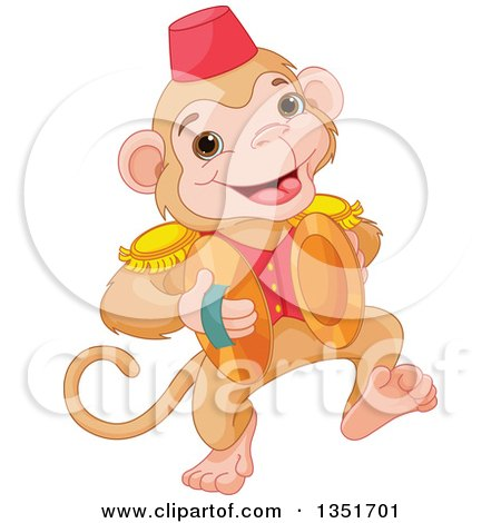 Clipart of a Cartoon Cute Performing Circus Monkey Playing Cymbals - Royalty Free Vector Illustration by Pushkin