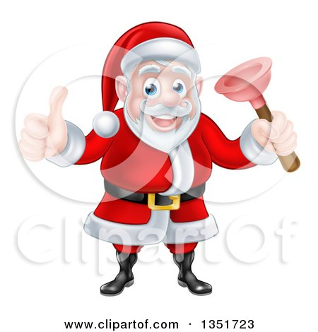 Clipart of a Happy Christmas Santa Claus Plumber Holding a Plunger and Giving a Thumb up 5 - Royalty Free Vector Illustration by AtStockIllustration