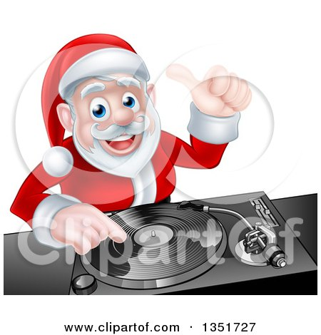 Clipart of a Happy Christmas Santa Claus Dj Mixing Music on a Turntable and Giving a Thumb up - Royalty Free Vector Illustration by AtStockIllustration