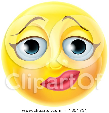 Clipart of a 3d Yellow Female Smiley Emoji Emoticon Face with a Nervous Expression - Royalty Free Vector Illustration by AtStockIllustration