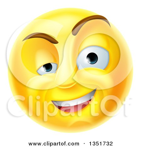 Clipart of a 3d Yellow Charming Flirty Male Smiley Emoji Emoticon Face - Royalty Free Vector Illustration by AtStockIllustration