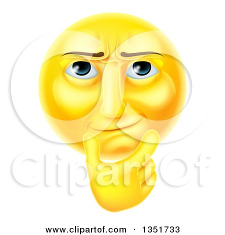 Clipart of a 3d Thinking Yellow Male Smiley Emoji Emoticon Face Touching His Chin - Royalty Free Vector Illustration by AtStockIllustration