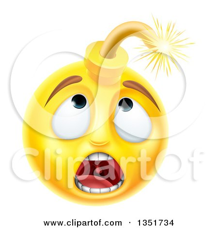 3d Scared Yellow Male Smiley Emoji Emoticon Face Bomb Posters, Art Prints