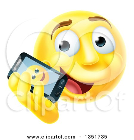 Clipart of a 3d Yellow Male Smiley Emoji Emoticon Face Talking on a Smart Phone - Royalty Free Vector Illustration by AtStockIllustration