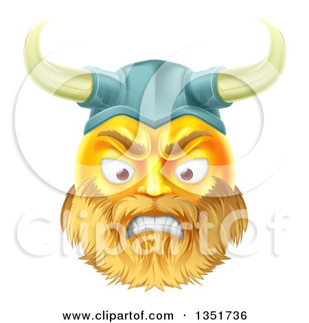 Clipart of a 3d Angry Yellow Male Smiley Emoji Emoticon Viking Warrior Face - Royalty Free Vector Illustration by AtStockIllustration