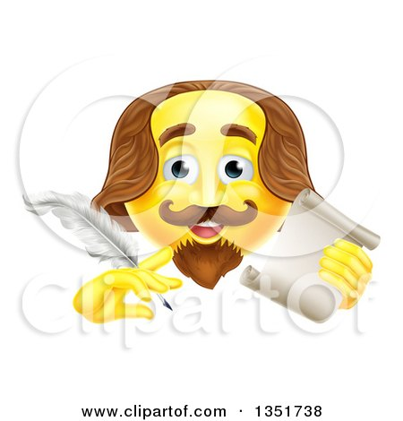 Clipart of a 3d Yellow Shakespeare Smiley Emoji Emoticon Holding a Feather Quill Pen and Scroll - Royalty Free Vector Illustration by AtStockIllustration
