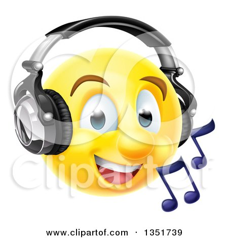 Clipart of a 3d Yellow Male Smiley Emoji Emoticon Face Listening to Music Through Headphones - Royalty Free Vector Illustration by AtStockIllustration