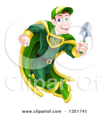 Clipart of a Middle Aged Brunette Caucasian Male Super Hero Running with a Garden Trowel - Royalty Free Vector Illustration by AtStockIllustration
