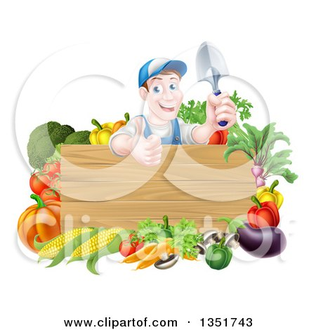 Clipart of a Middle Aged Brunette White Male Gardener in Blue, Holding up a Garden Spade and Giving a Thumb up over a Blank Wood Sign with Produce - Royalty Free Vector Illustration by AtStockIllustration