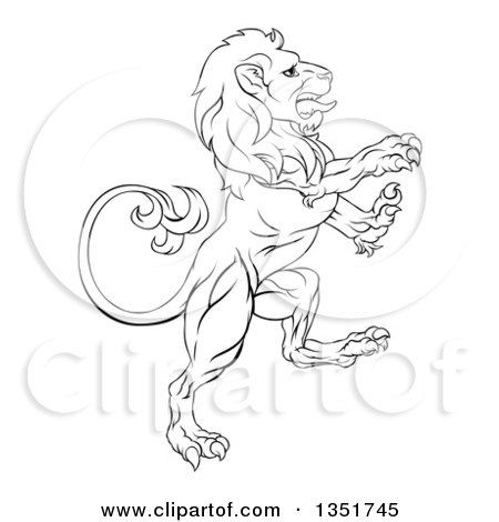 Clipart of a Black and White Ouline of a Rampant Lion - Royalty Free Vector Illustration by AtStockIllustration