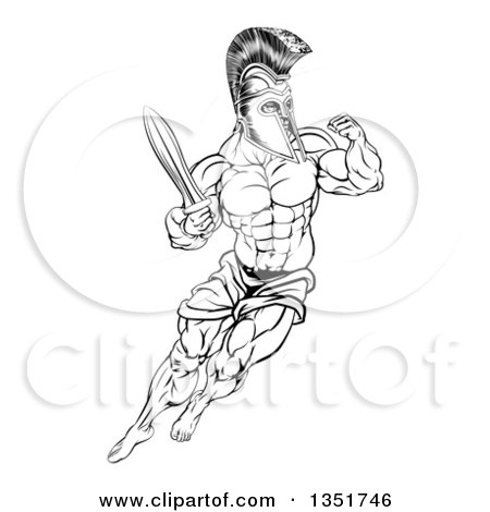Clipart of a Black and White Muscular Gladiator Spartan Man in a Helmet Fighting with a Sword and Holding up a Fist - Royalty Free Vector Illustration by AtStockIllustration