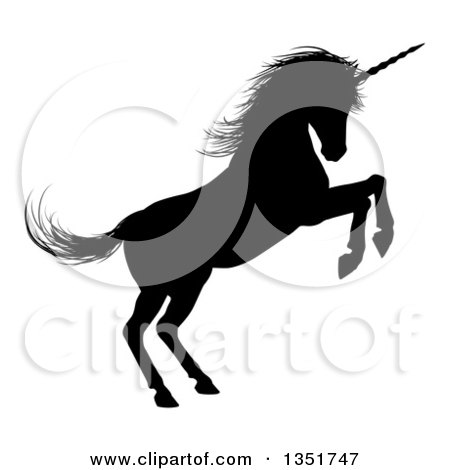 Clipart of a Black Silhouetted Rearing Rampant Unicorn in Profile, Facing Right - Royalty Free Vector Illustration by AtStockIllustration