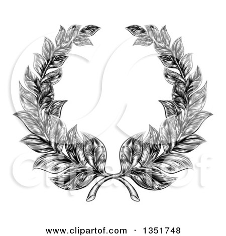 Clipart of a Black and White Engraved Laurel Wreath - Royalty Free Vector Illustration by AtStockIllustration