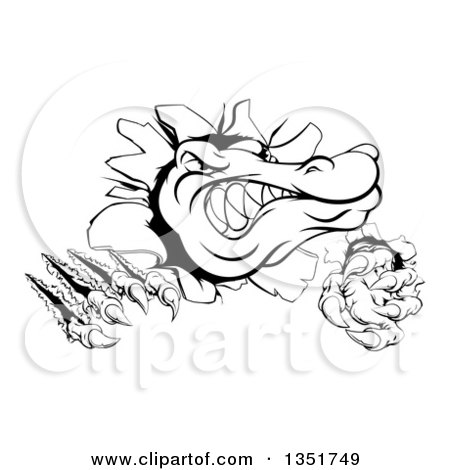Clipart of a Black and White Cartoon Alligator or Crocodile Monster Slashing Through a Wall - Royalty Free Vector Illustration by AtStockIllustration